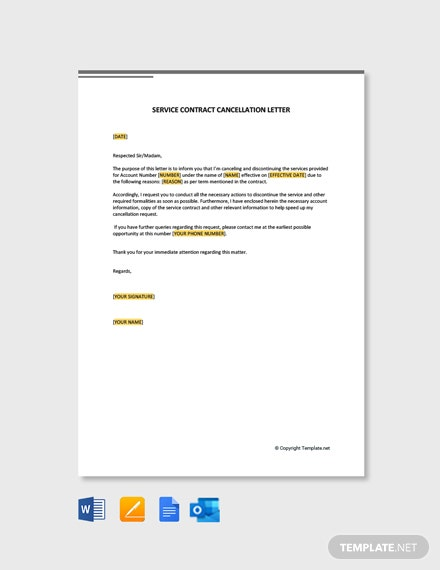 Free Service Contract Cancellation Letter