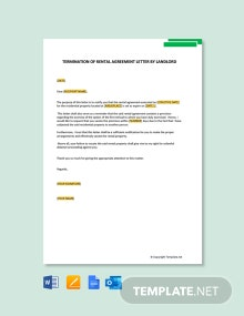 Free Termination Of Rental Agreement Letter By Landlord