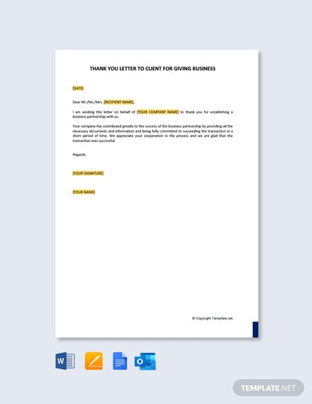 Free Thank You Letter to Client for Giving Business
