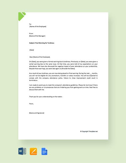 Free Final Warning Letter