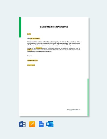 Environment Complaint Letter
