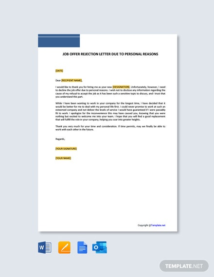 Free Job Offer Rejection Letter Due To Personal Reasons