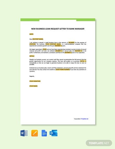 Free New Business Loan Request Letter To Bank Manager