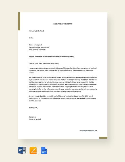 FREE Sales Promotion Letter