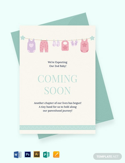 Coming Soon Pregnancy Announcement Card Template