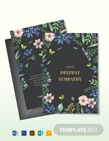 Floral Sympathy Card Template