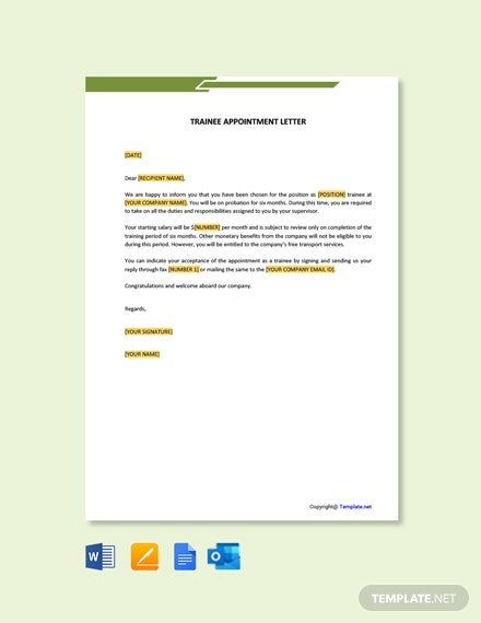 Free Trainee Appointment Letter