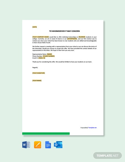 Free Internship Offer Letter To College