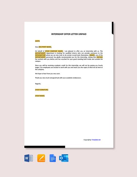 Internship Offer Letter Unpaid