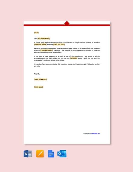 Free Non Profit Board Resignation Letter