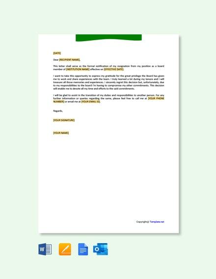 Free School Board Resignation Letter