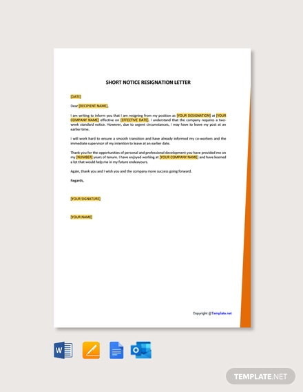 Free Short Notice Resignation Letter