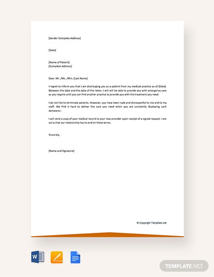 Free Patient Termination Letter Due To Behavior