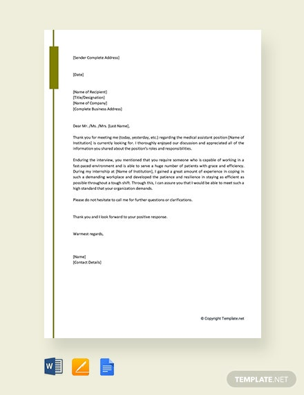 Free Medical Assistant Thank You Letter After Interview