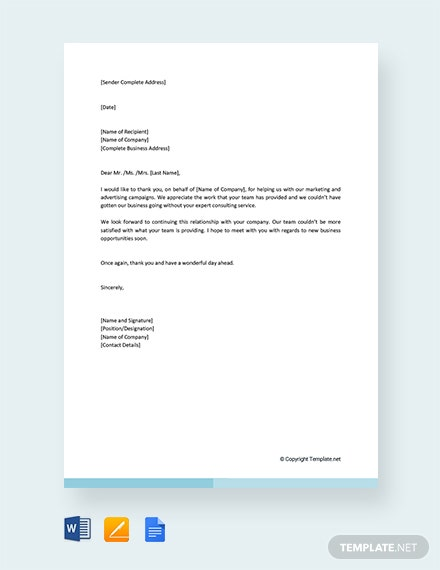 Free Thank You Letter For Business Support