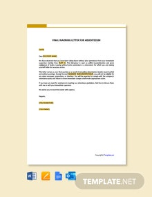 Free Final Warning Letter For Absenteeism