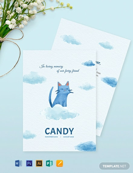Pet Memorial Card Template