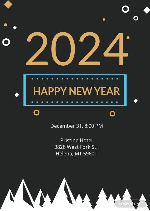 Chalkboard New Year Invitation Template