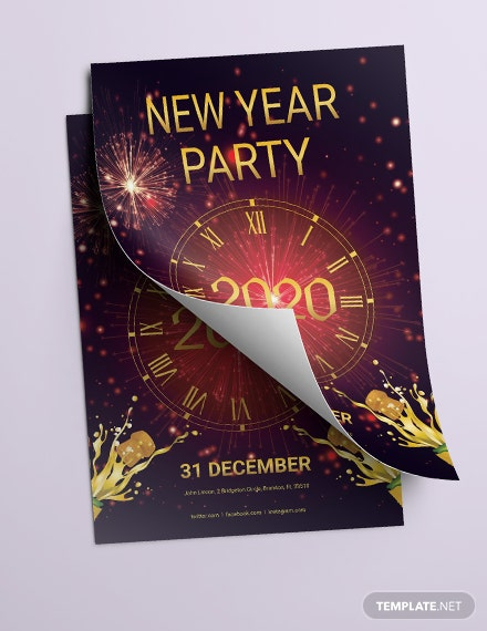 elegant new year party flyer