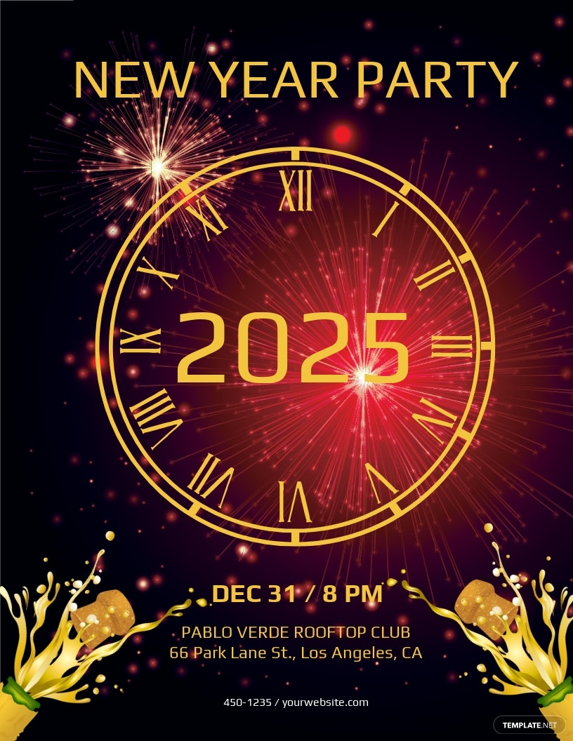 FREE Elegant New Year Party Flyer Template