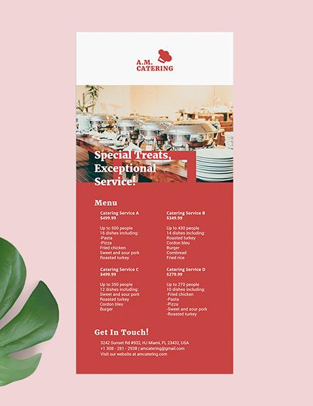 Catering Menu Rack Card Download