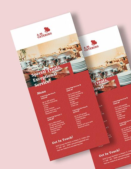 Sample Catering Menu Rack Card