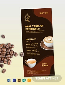 Coffee Shop Advertisement Rack Card Template