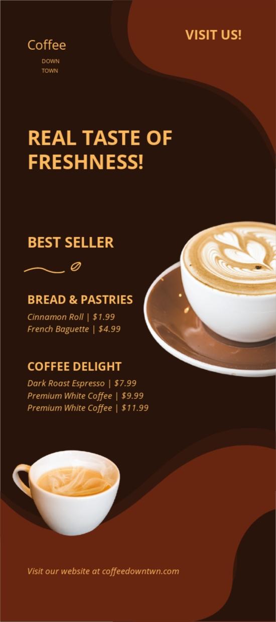 Coffee Shop Advertisement Rack Card Template