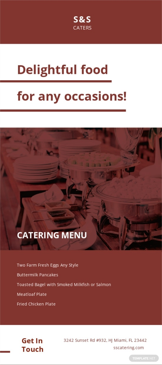 Food Catering Rack Card Template [Free JPG] - Illustrator, Word, Apple Pages, PSD, Publisher