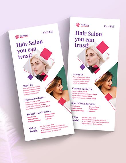 Sample Hair Salon Rack Card