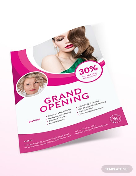 Sample Hair Salon Grand Opening Flyer