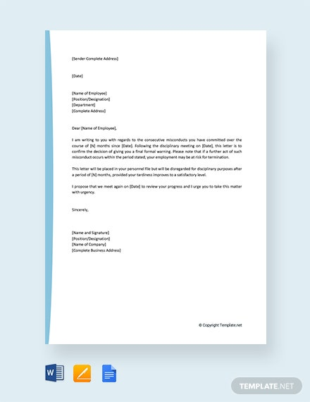 Free Final Warning Letter To Employee For Misconduct