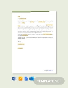 Free Contractor Resignation Letter