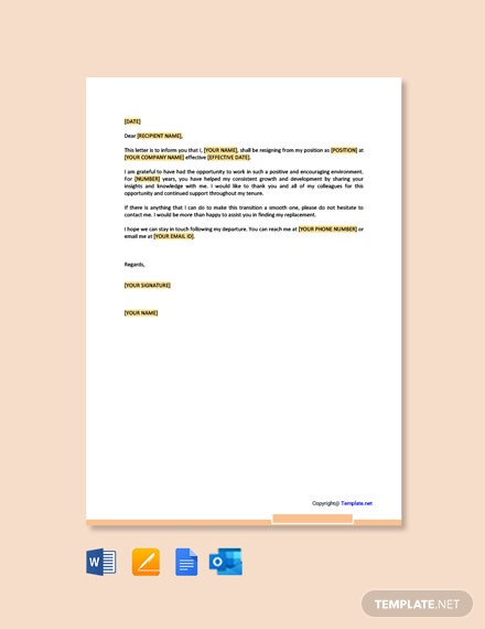 Appreciative Resignation Letter