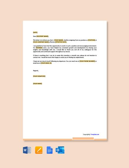 Free Appreciative Resignation Letter