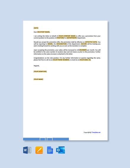 Job Promotion Offer Letter Template