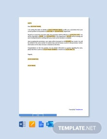 Free Job Promotion Offer Letter