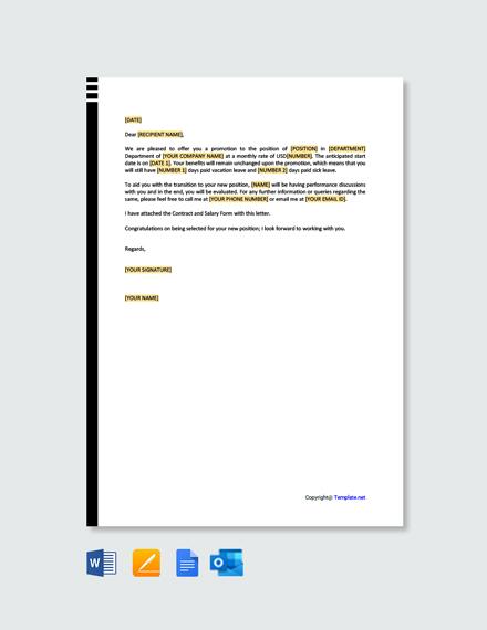 Free Internal Promotion Offer Letter
