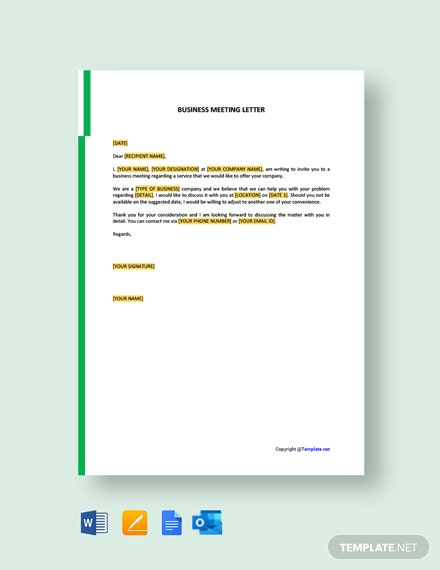 Business Meeting Letter Template