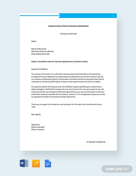 Free Cancellation Letter of Interview Appointment