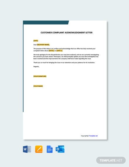 Free Customer Complaint Acknowledgement Letter