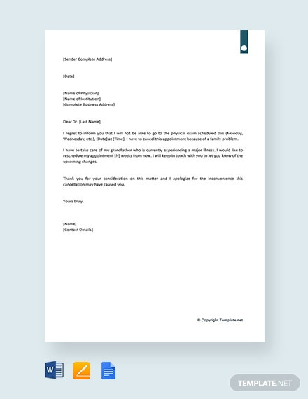 Free Doctor Appointment Cancellation Letter