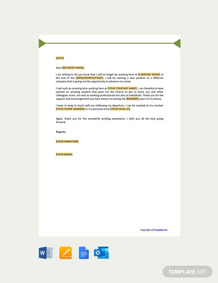 Free Goodbye Letter To Colleagues