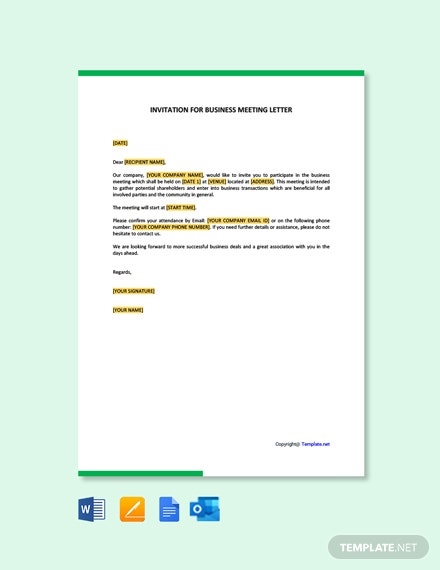 Invitation For Business Meeting Letter