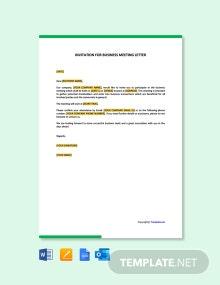 Free Invitation For Business Meeting Letter