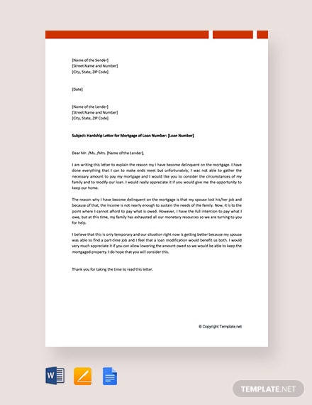 Free Mortgage Hardship Letter