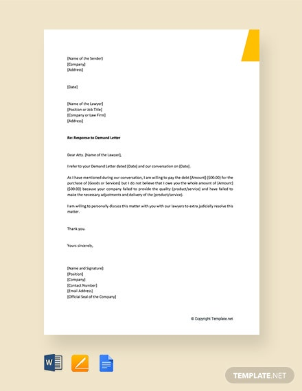 Free Response To Attorney Demand Letter