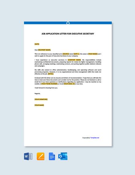 Job Application Letter for Executive Secretary