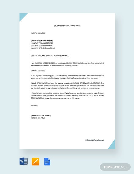 Free Service Contract Offer Letter