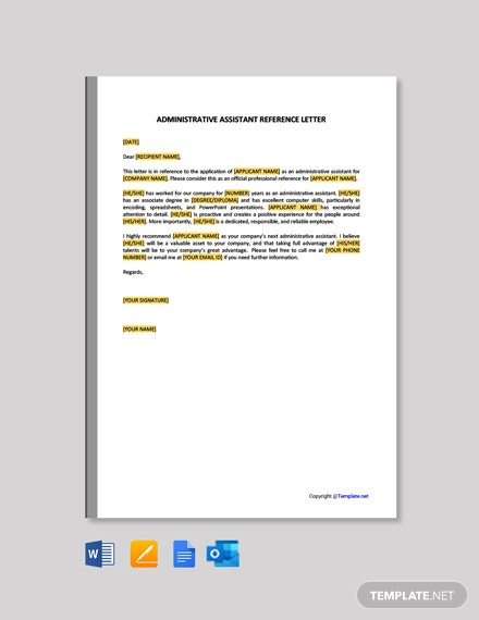 Administrative Assistant Reference Letter